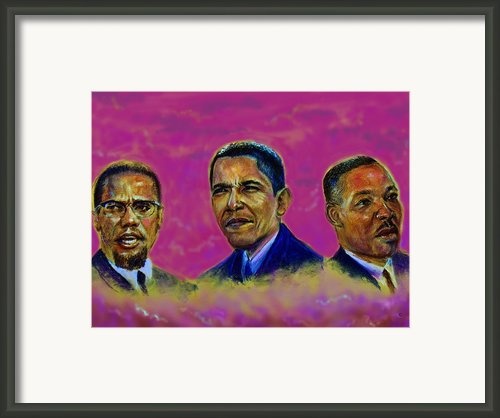 M.a.n...malcolm- Obama- Martin Framed Print By Tommy  Winn