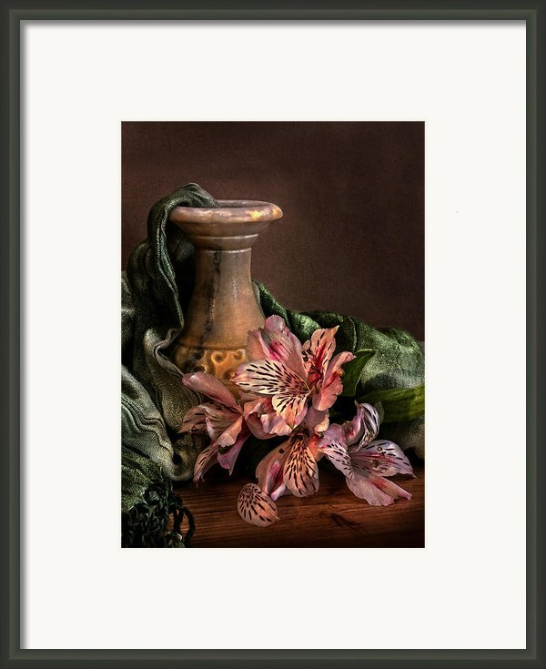 Marble Vase With Lilies Framed Print By Hugo Bussen