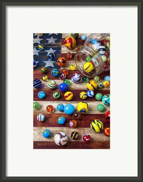 Marbles On American Flag Framed Print By Garry Gay