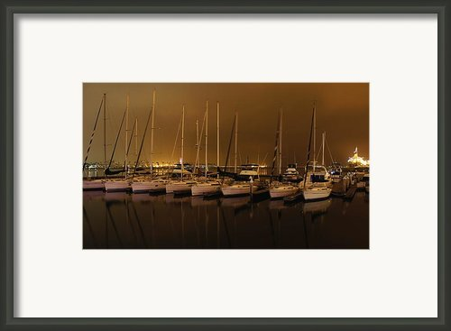 Marina At Night Framed Print By Jenny Hudson