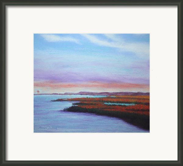Marshes At Sunset Framed Print By Marion Derrett