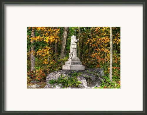 Massachusetts At Gettysburg - 37th Mass. Infantry Autumn Early-evening Sedgwick Avenue Framed Print By Michael Mazaika