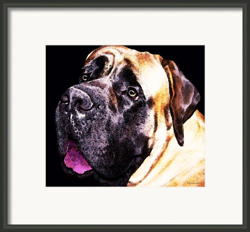 Mastiff Dog Art - Size Matters Framed Print By Sharon Cummings