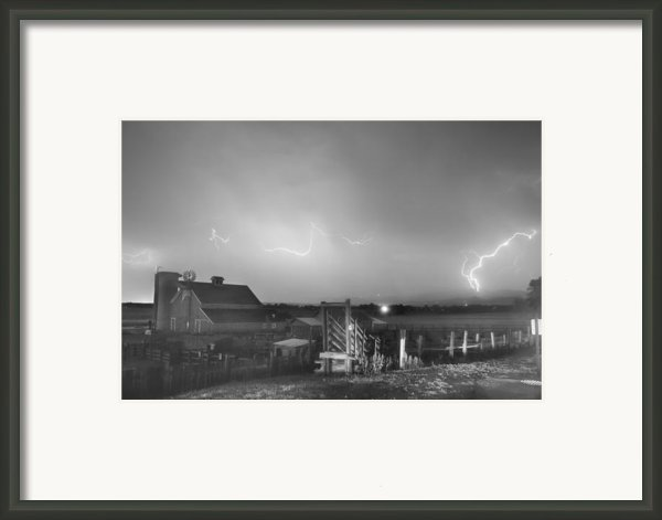 Mcintosh Farm Lightning Thunderstorm View Bw Framed Print By James Bo Insogna