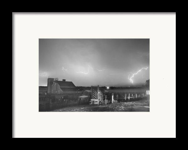 Mcintosh Farm Lightning Thunderstorm View Bw Framed Print By James Bo  Insogna