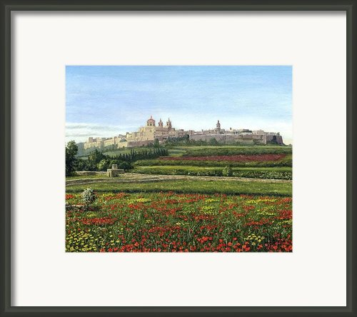 Mdina Poppies Malta Framed Print By Richard Harpum