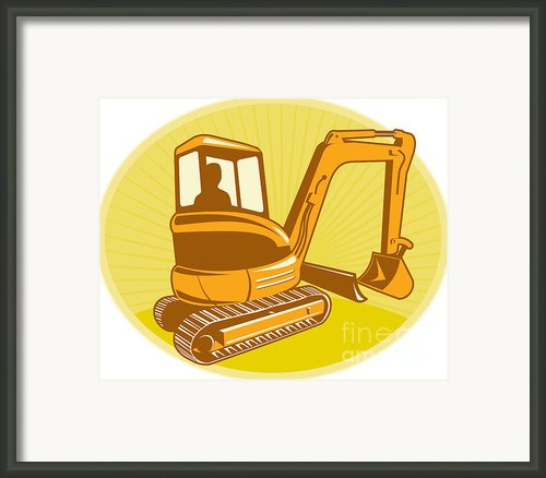 Mechanical Digger Excavator Retro Framed Print By Aloysius Patrimonio