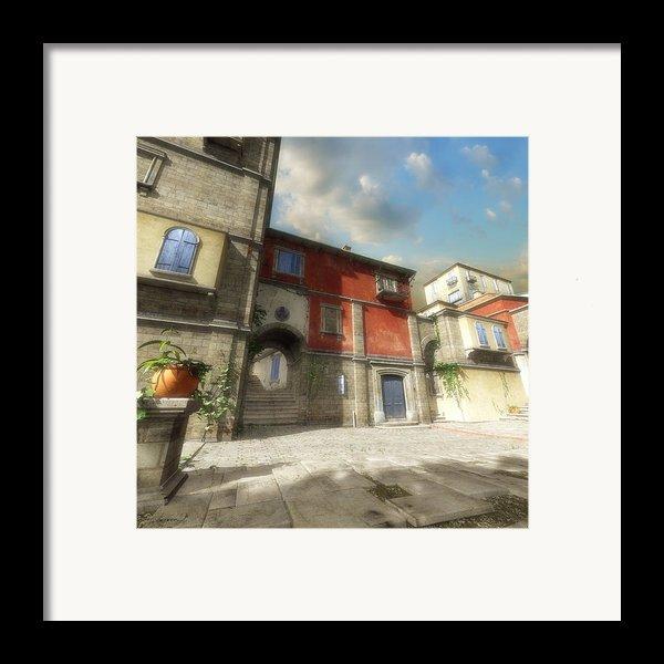 Mediterranean Street Framed Print By Cynthia Decker