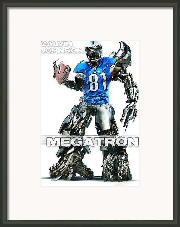 Megatron-calvin Johnson Framed Print By Peter Chilelli