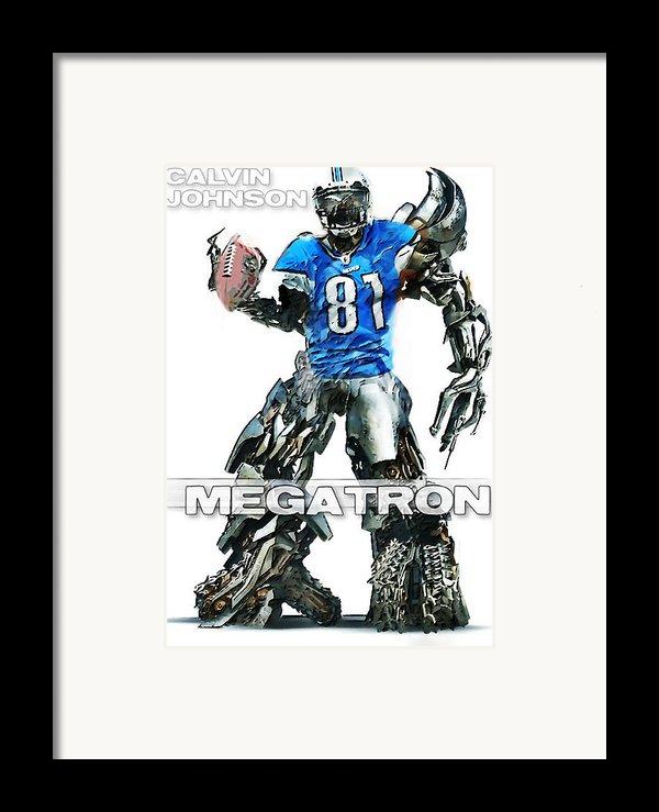 Megatron-calvin Johnson Framed Print By Peter Chilelli