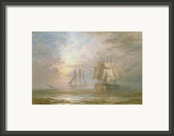Men Of War At Anchor Framed Print By Henry Thomas Dawson