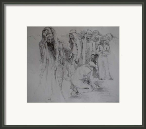 Mercy Sketch Framed Print By Jani Freimann