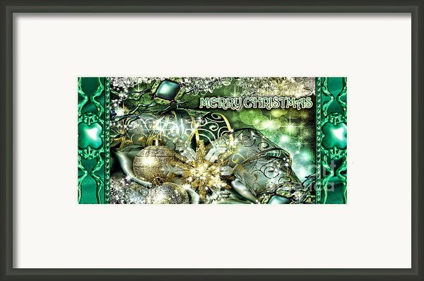 Merry Christmas Green Framed Print By Mo T