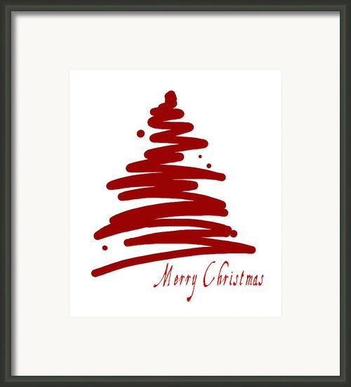 Merry Christmas Tree - Red Framed Print By Patricia Awapara