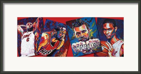 Miami Heat Collage Framed Print By Maria Arango
