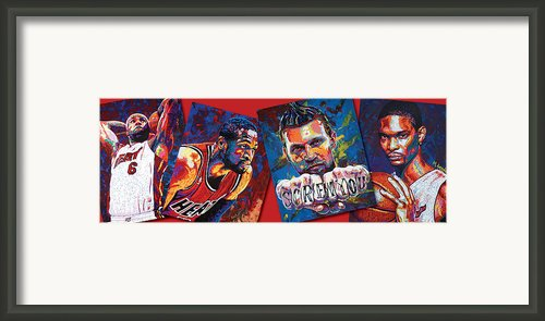 Miami Heat Collage Framed Print By Maria Arango