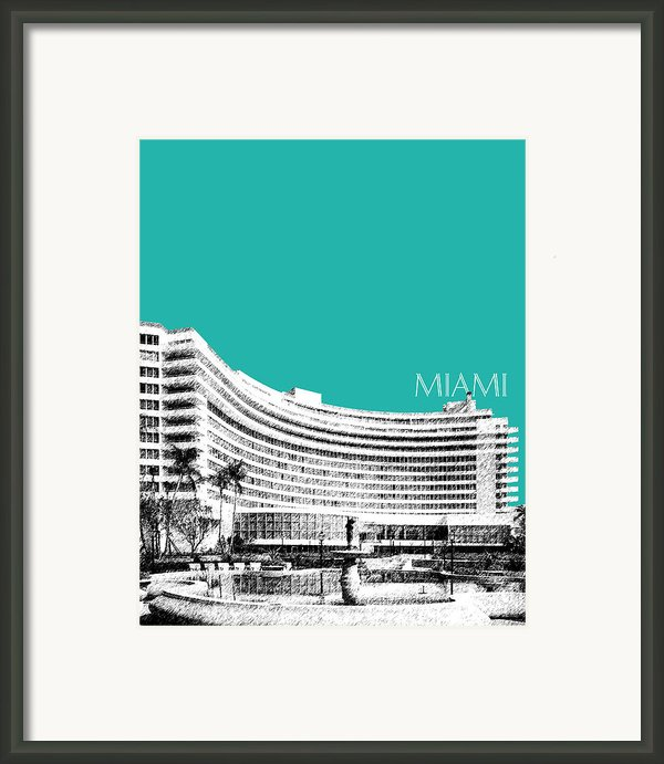 Miami Skyline Fontainebleau Hotel - Teal Framed Print By Db Artist