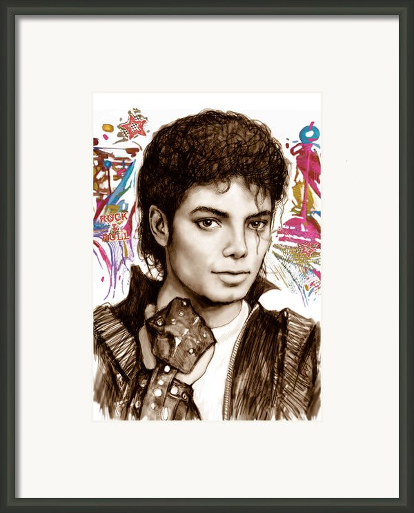 Michael Jackson Colour Drawing Art Poster Framed Print By Kim Wang