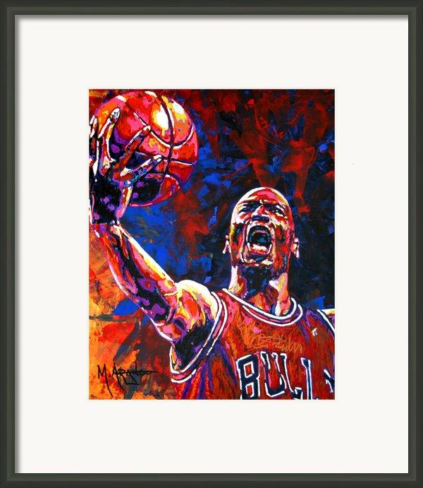 Michael Jordan Layup Framed Print By Maria Arango