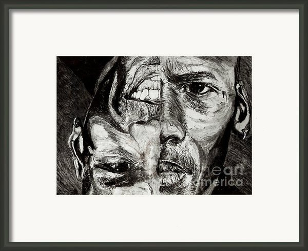 Michael Jordan  Reversible Game Faces Framed Print By Israel Torres
