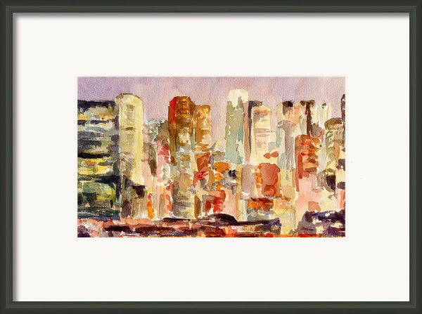 Midtown Manhattan Skyline At Dusk Watercolor Painting Of Nyc Framed Print By Beverly Brown Prints