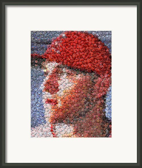 Mike Trout Bottle Cap Mosaic Framed Print By Paul Van Scott