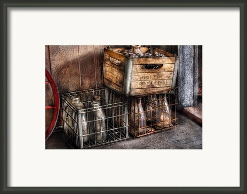 Milkman - Bottles In Boxes Framed Print By Mike Savad