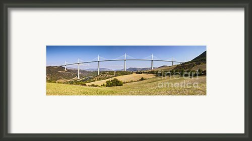 Millau Viaduct Panorama Midi Pyrenees France Framed Print By Colin And Linda Mckie