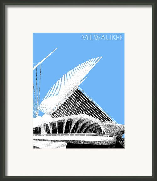 Milwaukee Skyline Art Museum - Light Blue Framed Print By Db Artist