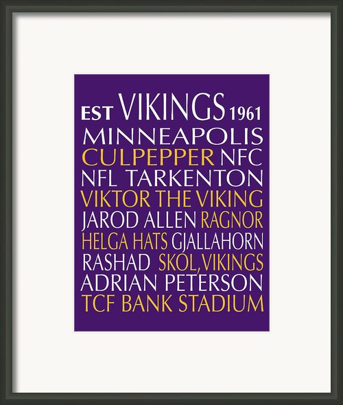 Minnesota Vikings Framed Print By Jaime Friedman