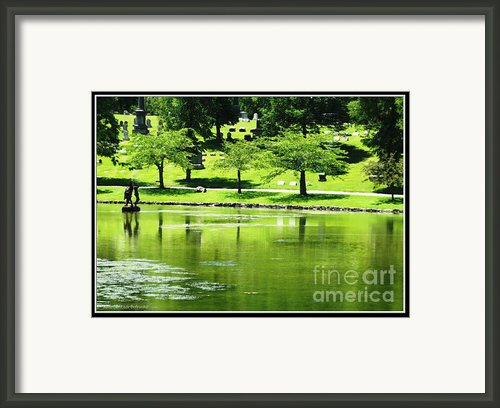 Mirror Lake Forest Lawn Cemetery Framed Print By Rose Santuci-sofranko