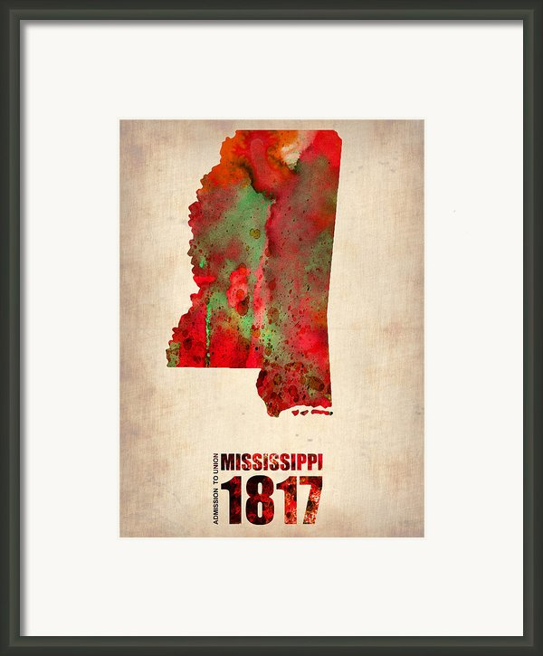 Mississippi Watercolor Map Framed Print By Naxart Studio