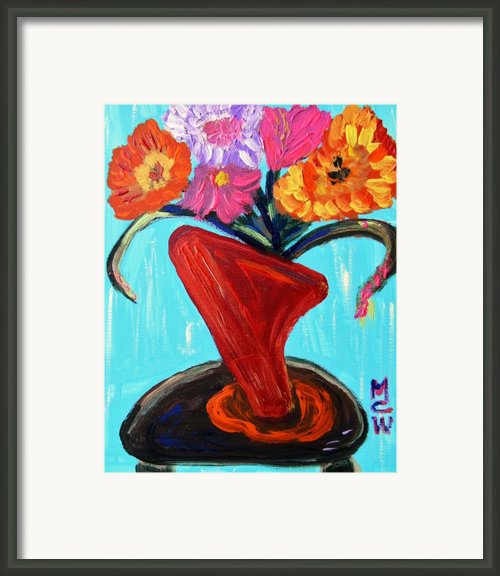 Modern Red Vase Framed Print By Mary Carol Williams
