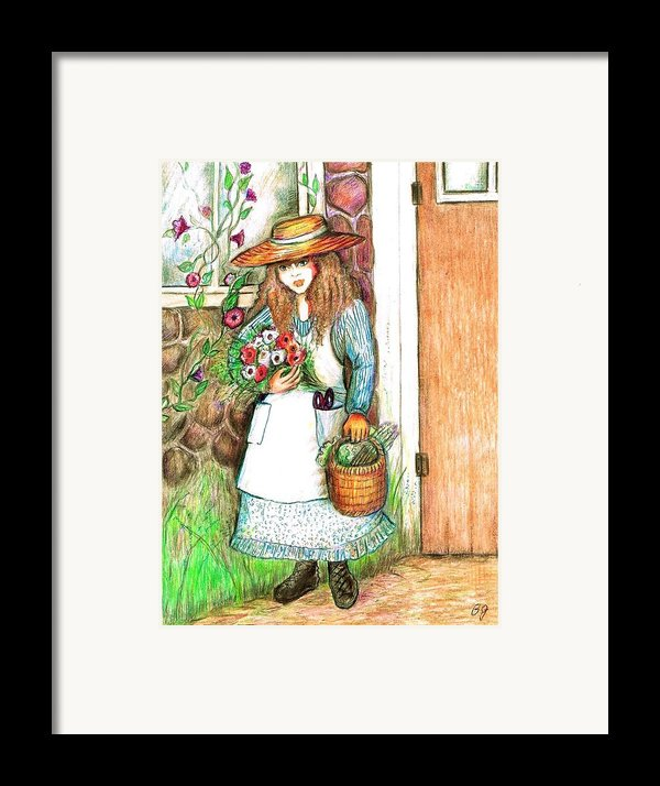 Molly Working In Her Garden Framed Print By Barbara Lemaster