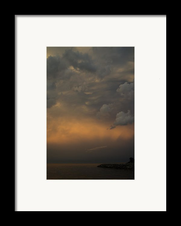 Moody Storm Sky Over Lake Ontario In Toronto Framed Print By Georgia Mizuleva