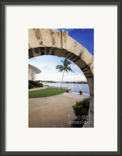 Moon Gate In Bermuda Framed Print By George Oze