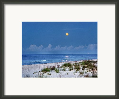 Moon Over Beach Framed Print By Michael Thomas