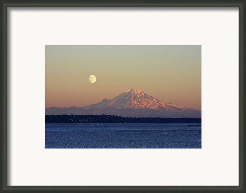 Moon Over Rainier Framed Print By Adam Romanowicz