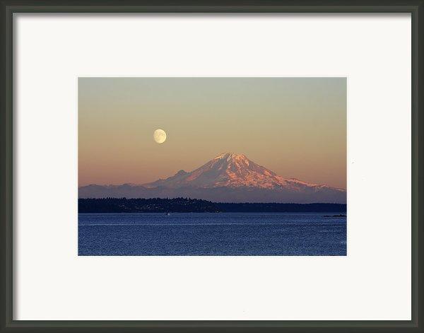 Moon Over Rainier Framed Print By Adam Romanowicz