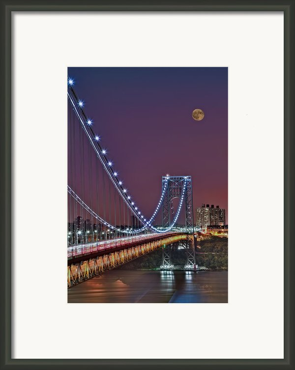 Moon Rise Over The George Washington Bridge Framed Print By Susan Candelario