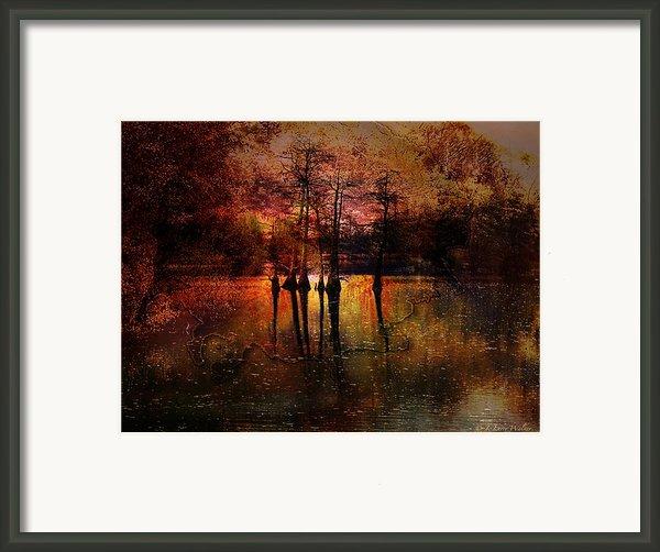 Moon Setting Over Reelfoot Lake Framed Print By J Larry Walker