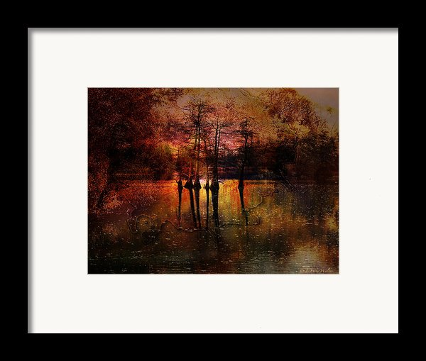 Moon Setting Over Reelfoot Lake Framed Print By J Larry Walker