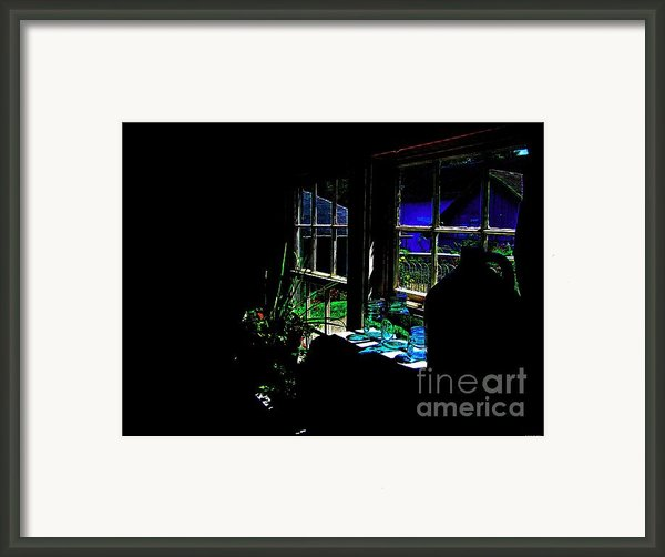 Moonlight Through Glass Bottles Framed Print By Annie Zeno