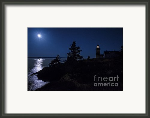 Moonlit Panorama West Quoddy Head Lighthouse Framed Print By Marty Saccone