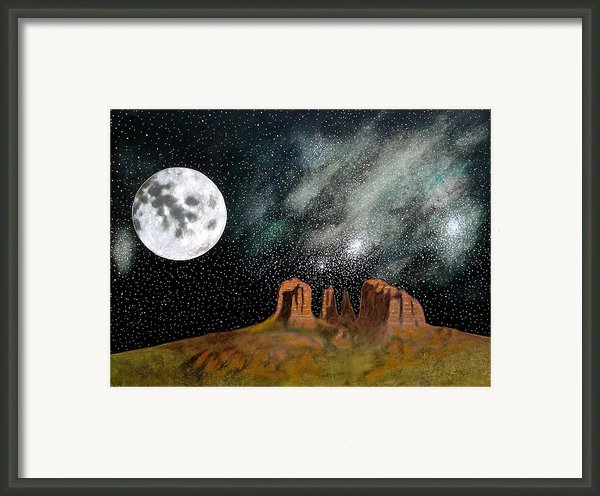 Moonrise Over Sedona Framed Print By John Lyes