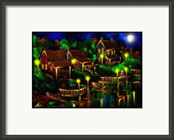 Moonshine Lake - Scratch Art Series - # 26 Framed Print By Steven Lebron Langston