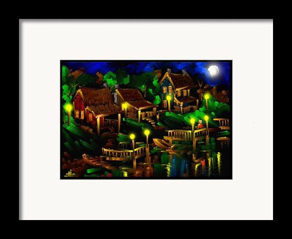 Moonshine Lake - Scratch Art Series - # 26 Framed Print By Steven Lebron Langston