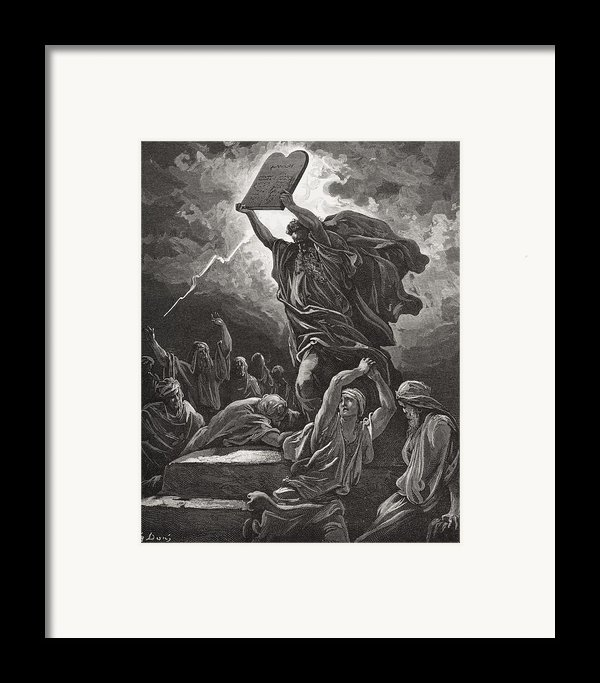 Moses Breaking The Tablets Of The Law Framed Print By Gustave Dore