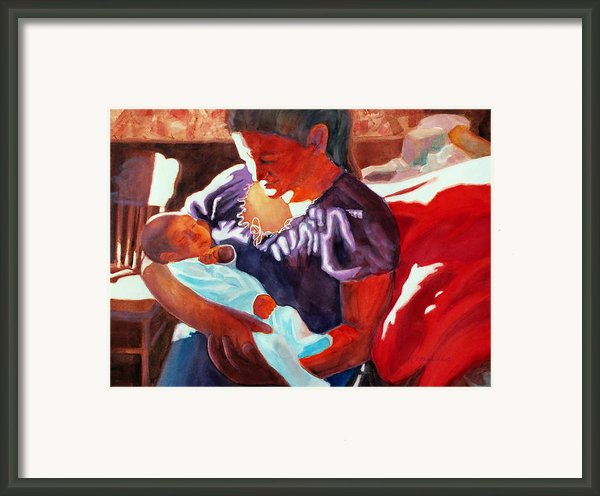 Mother And Newborn Child Framed Print By Kathy Braud