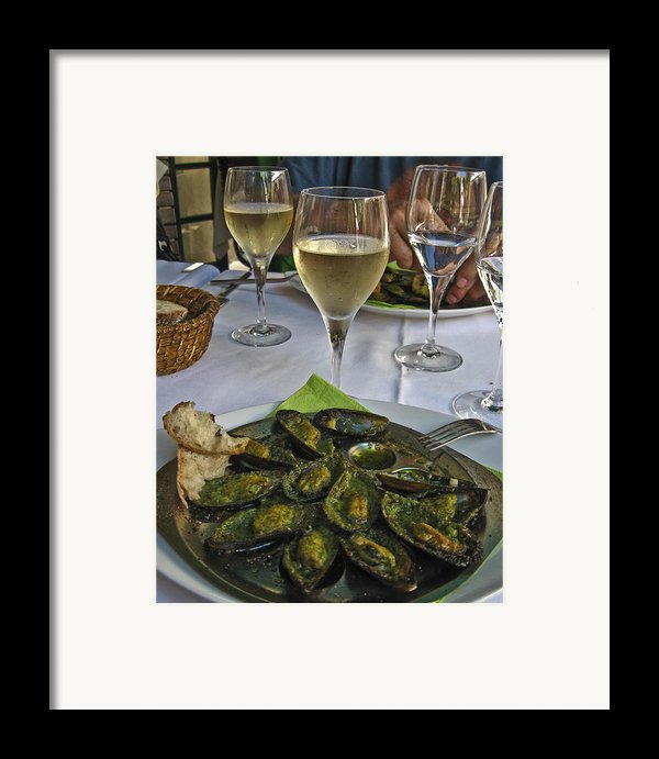 Moules And Chardonnay Framed Print By Allen Sheffield